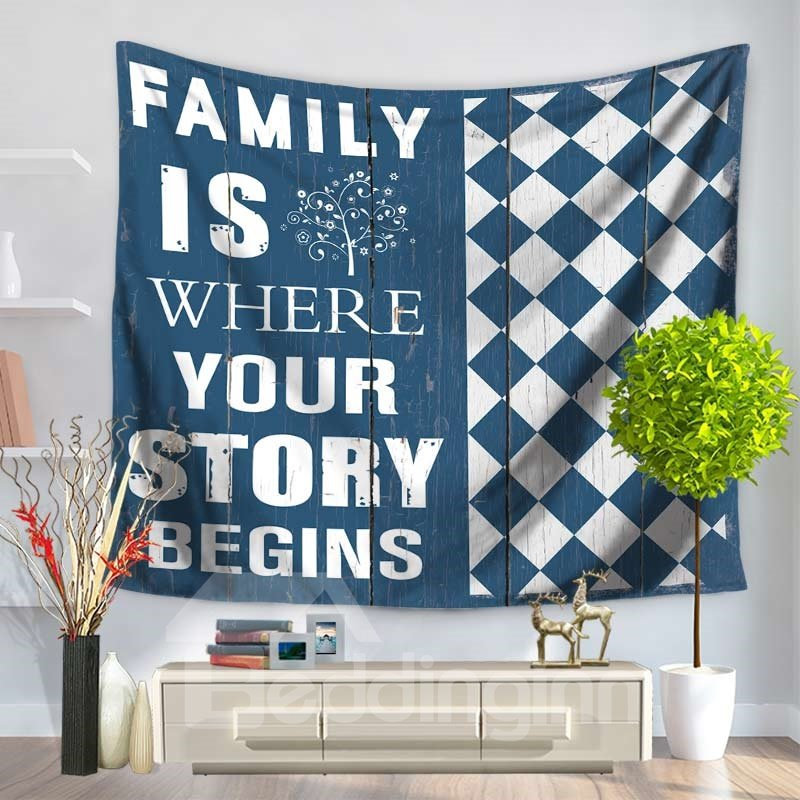 Family Is Where Your Story Begins Letters Modern Style Decorative Hanging Wall Tapestry