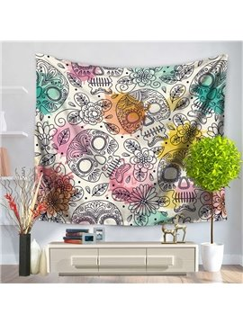 Colorful Sketching Skull Pattern Decorative Hanging Wall Tapestry