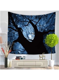 Tree Trunk and Twinkle Stars Magical Night Sky Decorative Hanging Wall Tapestry