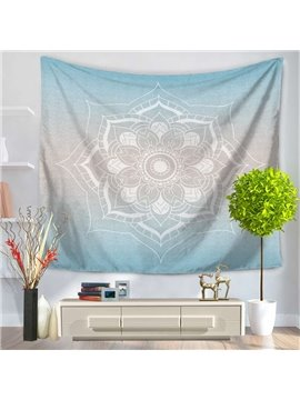 White Lotus Gradient Blue Exotic Style Decorative Hanging Wall Tapestry