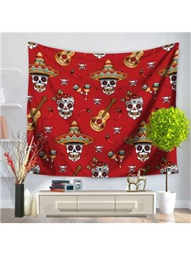 Skull Clown and Guitar Design Red Decorative Hanging Wall Tapestry