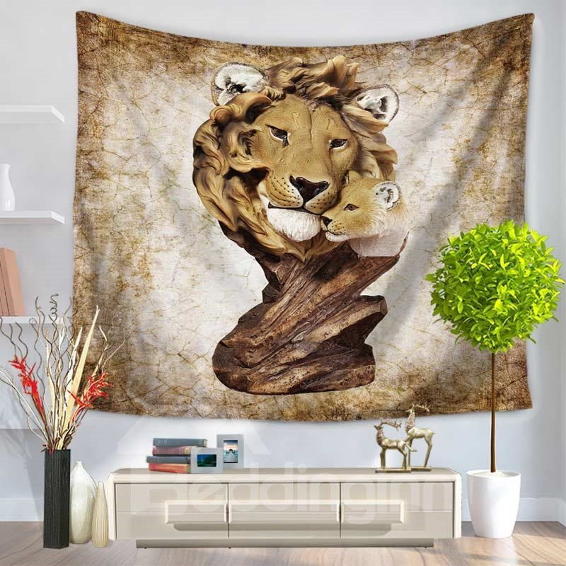 Artful Wood Carving Two Lions Decorative Hanging Wall Tapestry