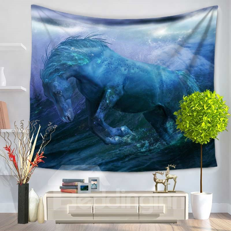 White Horse Cross River Pattern Decorative Hanging Wall Tapestry
