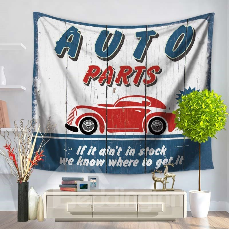 Denim Blue and Letters with Red Car Vintage Style Decorative Hanging Wall Tapestry