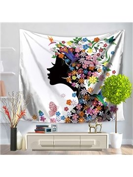 Floral Dressing Hair Girls Kissing Left and Butterflies Pattern Decorative Hanging Wall Tapestry
