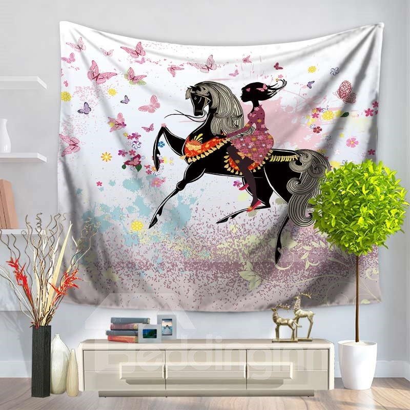 Butterflies and Floral Girl Riding Horse Romantic Style Decorative Hanging Wall Tapestry