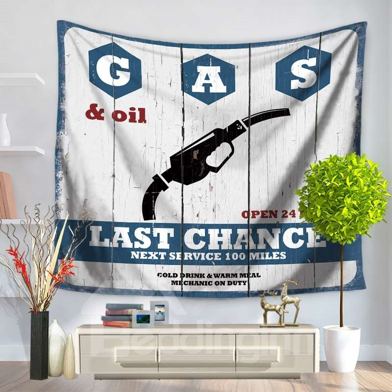 Denim Blue and Letters with a Gun Vintage Style Decorative Hanging Wall Tapestry