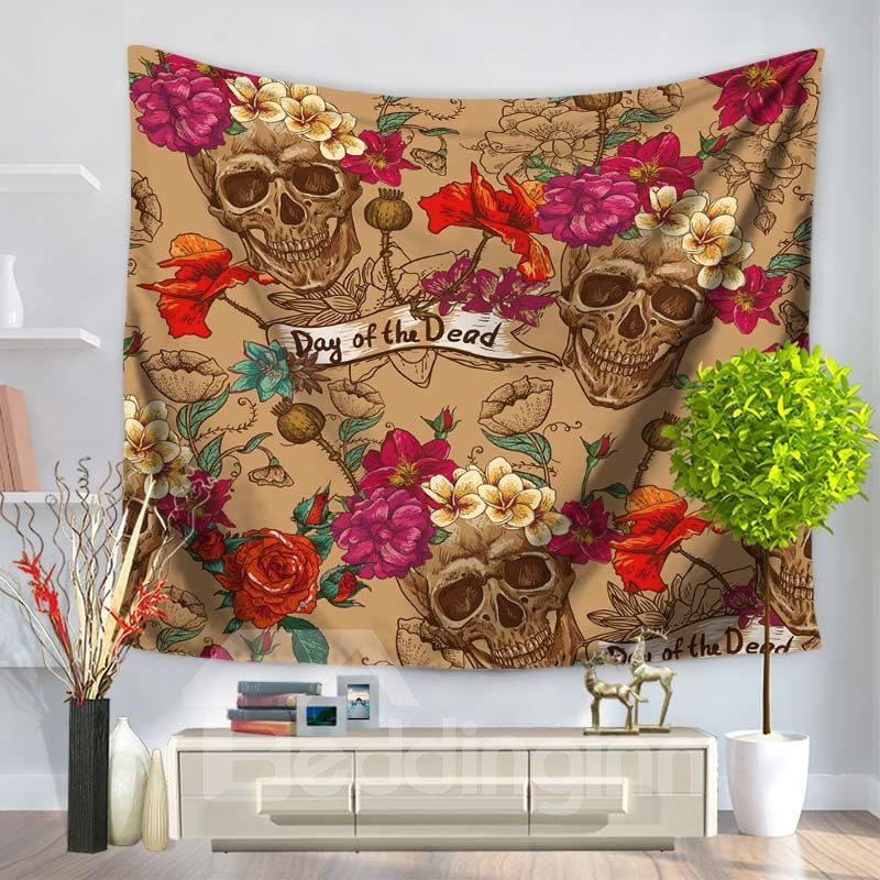 Skulls and Red Roses Pattern Decorative Hanging Wall Tapestry