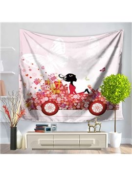 Floral Girls and Car with Butterfly Design Pink Decorative Hanging Wall Tapestry