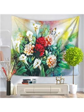 Artful Flowers Ikebana and Butterfly Pattern Decorative Hanging Wall Tapestry
