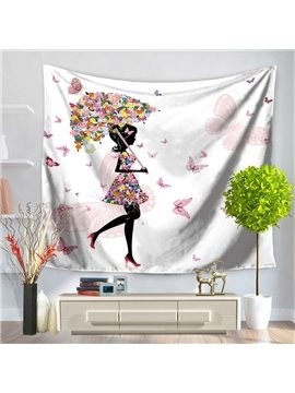 Floral Butterfly Girl with Umbrella Decorative Hanging Wall Tapestry