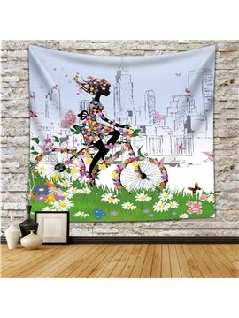 Floral Butterfly Girl Riding Bicycle on Green Field Decorative Hanging Wall Tapestry