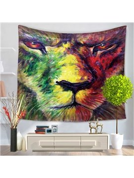 Oil Painting Angry Lion Pattern Decorative Hanging Wall Tapestry