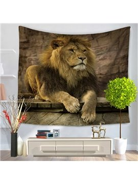 Wild Lion Sitting and Looking Forward Pattern Decorative Hanging Wall Tapestry