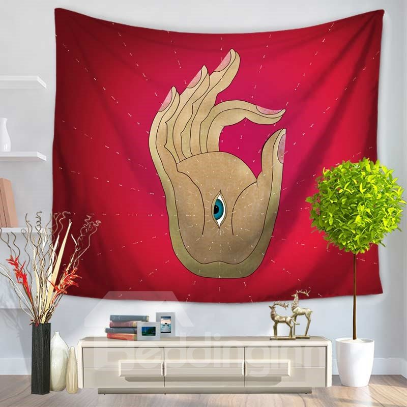 Buddha Palm and A Eye Creative Pattern Red Decorative Hanging Wall Tapestry