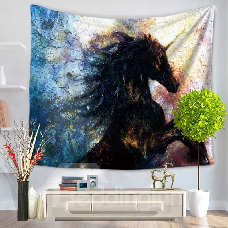 A Jumping Black Unicorn Decorative Hanging Wall Tapestry