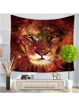 Angry Lion Glaring at Front Decorative Hanging Wall Tapestry