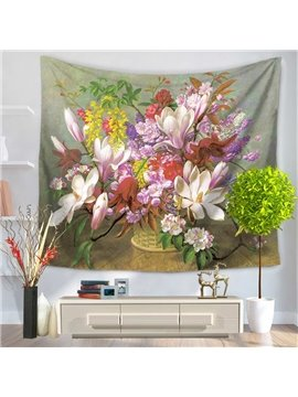 Colorful Flowers Blooming in Basket Decorative Hanging Wall Tapestry