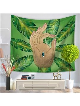 Buddha Palm and Green Leaves Creative Pattern Decorative Hanging Wall Tapestry