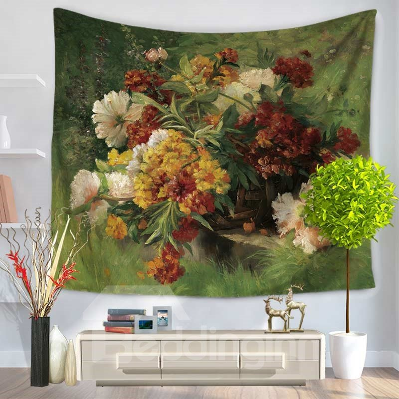 Oil Painting Flowers Blooming and Plants Pattern Decorative Hanging Wall Tapestry