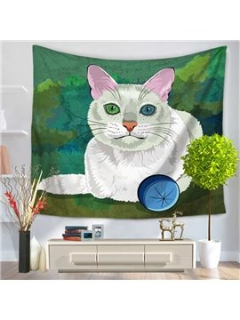 Tender White Cat in the Green Grass Decorative Hanging Wall Tapestry