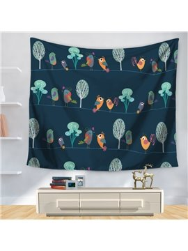 Cartoon Birds and Trees Joyful Decorative Hanging Wall Tapestry