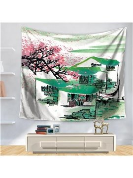Chinese Jiangnan Watertown Green Roof Pink Sakura Pattern Decorative Hanging Wall Tapestry