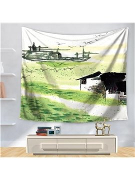 Chinese Village Landscape Painting with Abstract Swallow Art Pattern Decorative Hanging Wall Tapestry