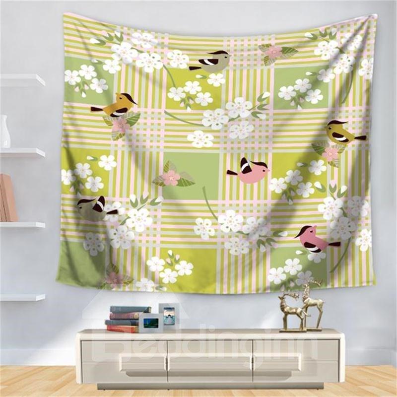 Dreamlike Peach Blossom Birds Stripes Pattern Decorative Hanging Wall Tapestry