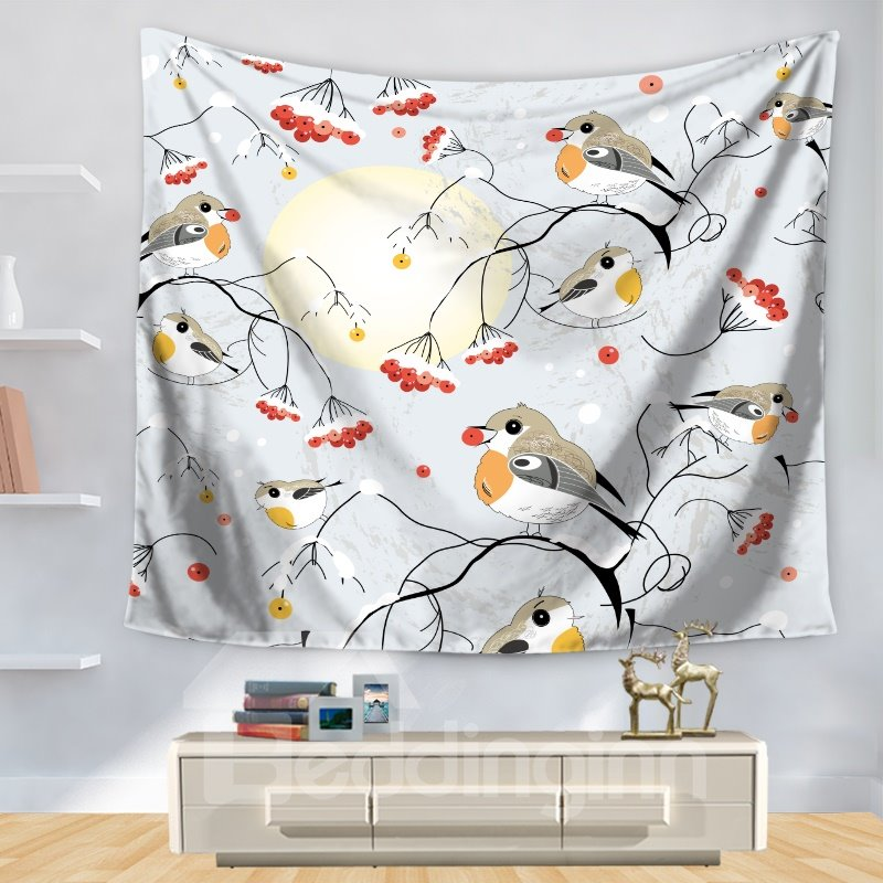 Artful Adorable Little Birds with Branches Moon Pattern Decorative Hanging Wall Tapestry