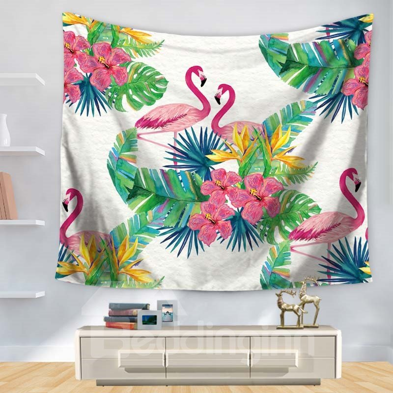 Floral Style Couple Pink Flamingo with Green Leaves Pattern Decorative Hanging Wall Tapestry