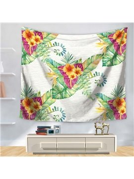 Watercolor Blossoming Flowers with Leaves White Bottom Decorative Hanging Wall Tapestry