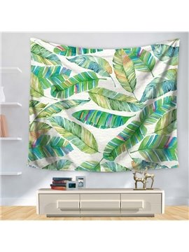 Watercolor Various Colorful Blooming Green Tropical Leaves Pattern Decorative Hanging Wall Tapestry
