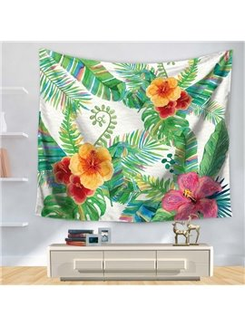 Watercolor Floral Style Multicolored Rainbow Palm Leaves Pattern Decorative Hanging Wall Tapestry