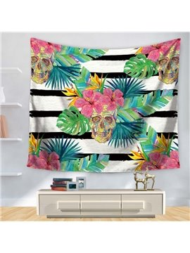 Floral Style with Black and White Stripes Skull Pattern Decorative Hanging Wall Tapestry
