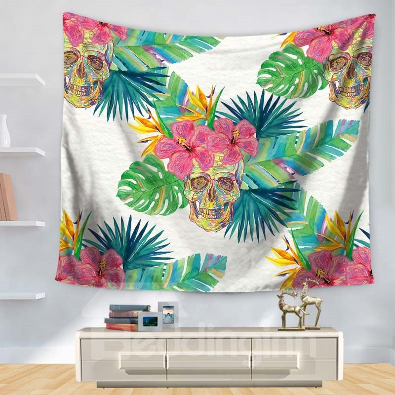 Colorful Floral Style Cool Skull Pattern White Decorative Hanging Wall Tapestry