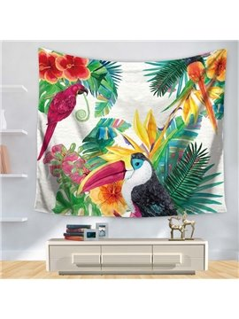 Watercolor Floral Style with Longirostravis Parrot Garden Nature Pattern Decorative Hanging Wall Tapestry