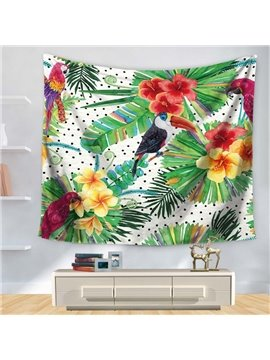 Watercolor Floral Style with Parrot Little Black Dot Decorative Hanging Wall Tapestry
