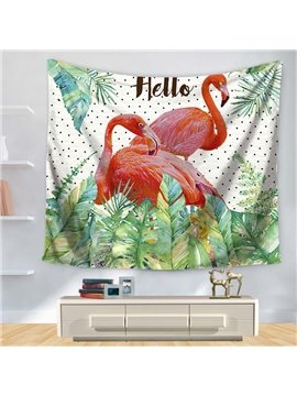 Hello Pink Flamingo with Palm Leaves Little Black Dot Decorative Hanging Wall Tapestry