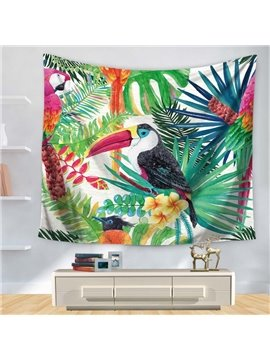 Watercolor Floral Style Longirostravis Parrot and Tropical Plants Decorative Hanging Wall Tapestry