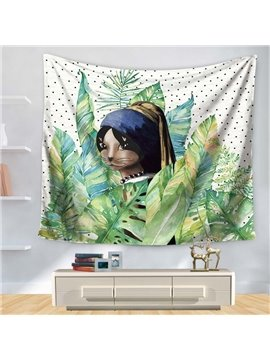 South America Aborigine and Palm Leaves Decorative Hanging Wall Tapestry