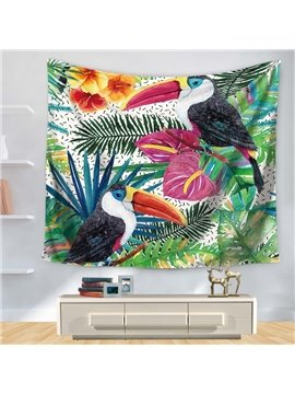 Artful Watercolor Flowers with Longirostravis Parrot Garden Nature Pattern Decorative Hanging Wall Tapestry