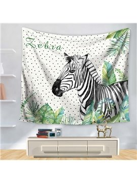 Watercolor Artful Zebra with Green Palm Leaves Pattern Decorative Hanging Wall Tapestry