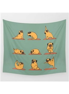Cartoon Bulldog with Blue Hat and Scarf Pattern Decorative Hanging Wall Tapestry