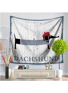 Cartoon Dachshund Dog with Red Chic Beret Pattern Decorative Hanging Wall Tapestry