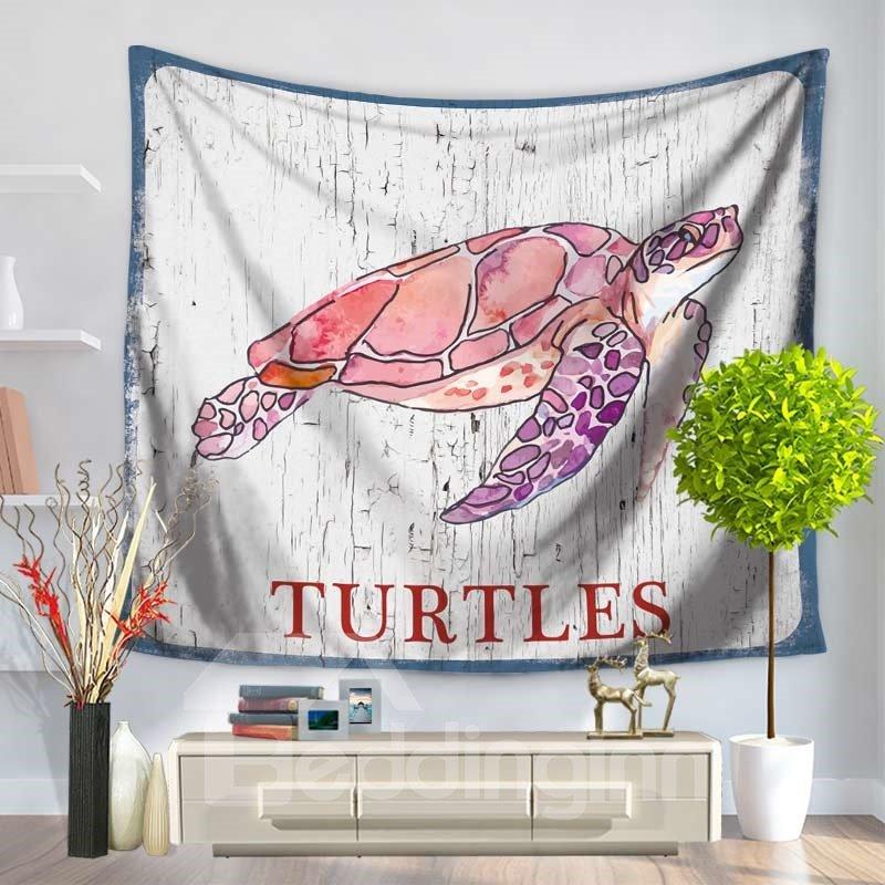 Pink Cartoon Old Turtles Ocean Pattern Decorative Hanging Wall Tapestry