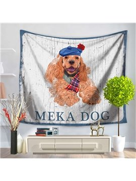 Cartoon Long Fur Meka Dog Pet Pattern England Style Decorative Hanging Wall Tapestry