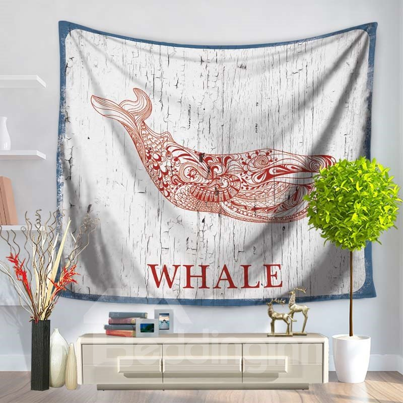Stick Drawing Abstract Red Whale Pattern Decorative Hanging Wall Tapestry