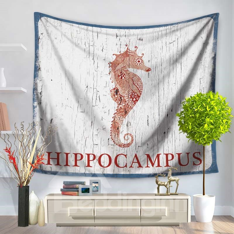 Odobenus Rosmarus Hippocampus Japonicus with Wood Background Pattern Decorative Hanging Wall Tapestry