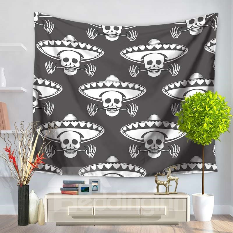 Pop Style Cowboy Skull Mustache Pattern Black Decorative Hanging Wall Tapestry